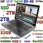 "(3D-Design 17.3"" FHD) HP 8770W i7-QUAD(BD-RE 512GB-SSD + 2x2TB 32GB) K4000M-4GB"