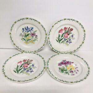 THOMSON-POTTERY-CHINA-FLORAL-GARDEN-4-SALAD-PLATES-DIFFERENT-DESIGNS-7-3-8-034-IN