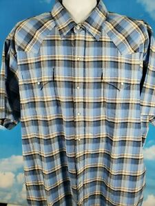 Ely-Cattleman-Mens-Button-Up-Western-Shirt-Blue-Plaid-Pearl-Snaps-Tall-3-XLT