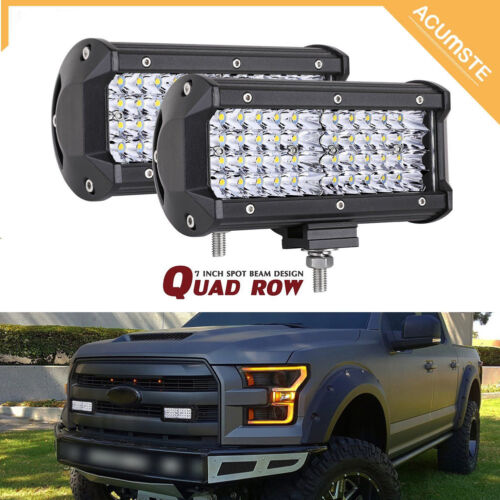 "2x Quad Row 7Inch 480W Led Work Light Bar SPOT Offroad Driving 4WD Truck ATV 6/"""