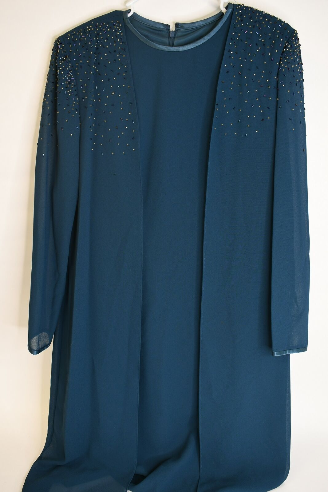After Dark Dark Teal Evening Gown W/Multicolor Beaded Attached Jacket Size 14