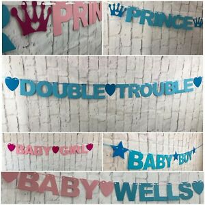 PERSONALISED-New-Baby-Shower-BANNER-Twins-decorations-bunting-Gender-reveal