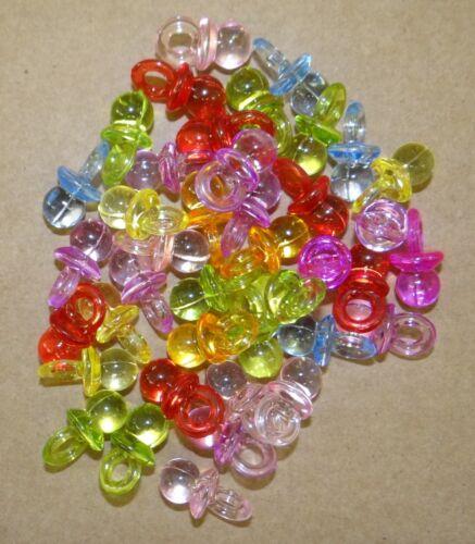 bc240 Lot de 40 breloques pendentifs tétine,totoche en plastique translucide