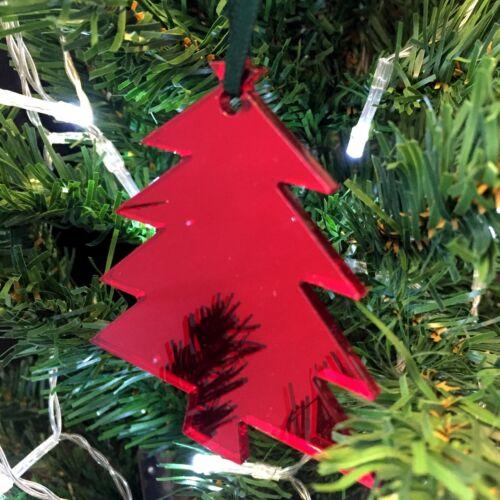 Pack of 10 Tree Shaped Xmas Decs /& Green Ribbon Red or Silver Mirror Gold