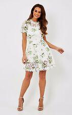 Liquorish Floral Lace Garden Print Dress White Size UK 12 rrp £70 DH077 QQ 03