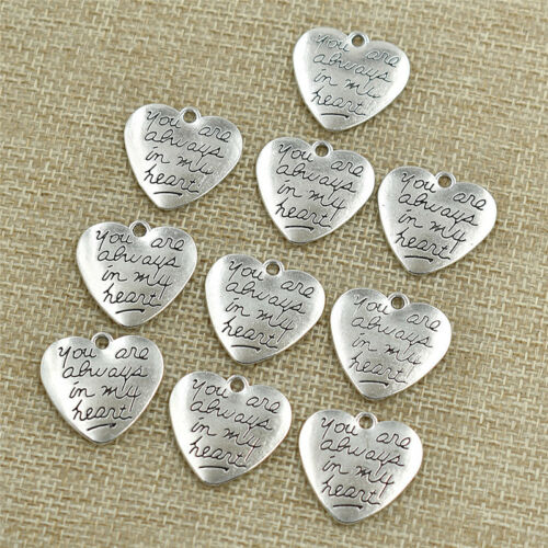 10pcs Silver Heart Charm Pendant You Are Always In My Heart Supply for Handcraft