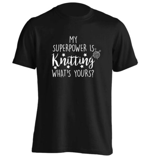 t-shirt geek knit purl needles craft handmade 5197 My super power is knitting