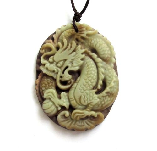 Two Layer Natural Stone Chinese Dragon Amulet Pendant Happy Lucky Jewelry