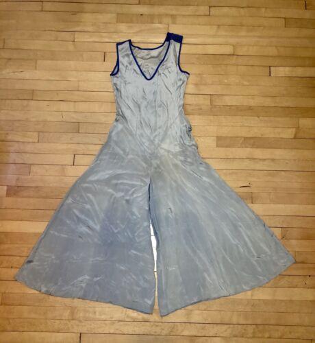 Vintage 1930s Silk Beach Pajamas Pale Blue Royal B