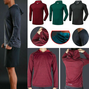 Men-039-s-Solid-Hoodie-Long-Sleeve-Shirts-Sweatshirt-Gym-Muscle-Tops-T-shirt-S-2XL