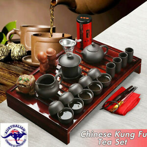 Elegant Chinese Kung Fu Tea Set Porcelain Teapot Pot Cup Kettle Wood Holder AU