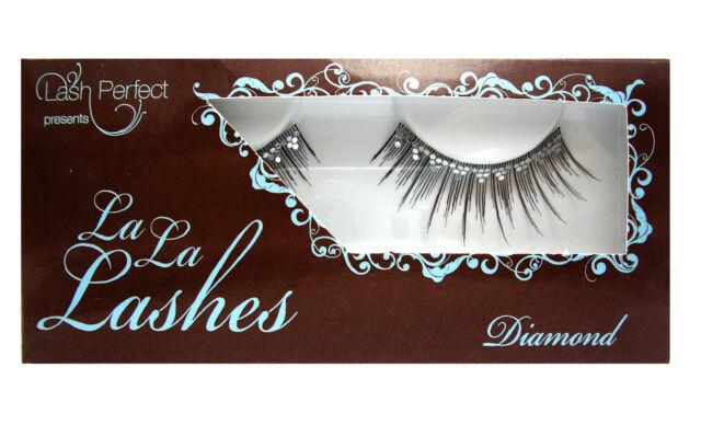 LA LA LASHES EYELASH EYELASHES PARTY PEEPERS DIAMOND BLACK WITH CRYSTAL