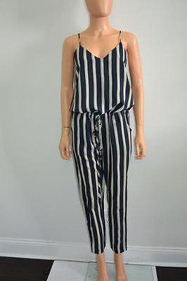 NWT Mason Navy Stripe/Black Back Silk Sleeveless Jumper/Romper, Sz 0, $535
