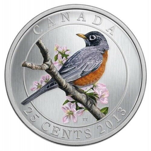 2013 CANADA 25-Cent Coloured Coin - American Robin