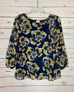 Cabi Women's S Small Navy Gold Floral Lydia Beautiful Spring Top Blouse Shirt