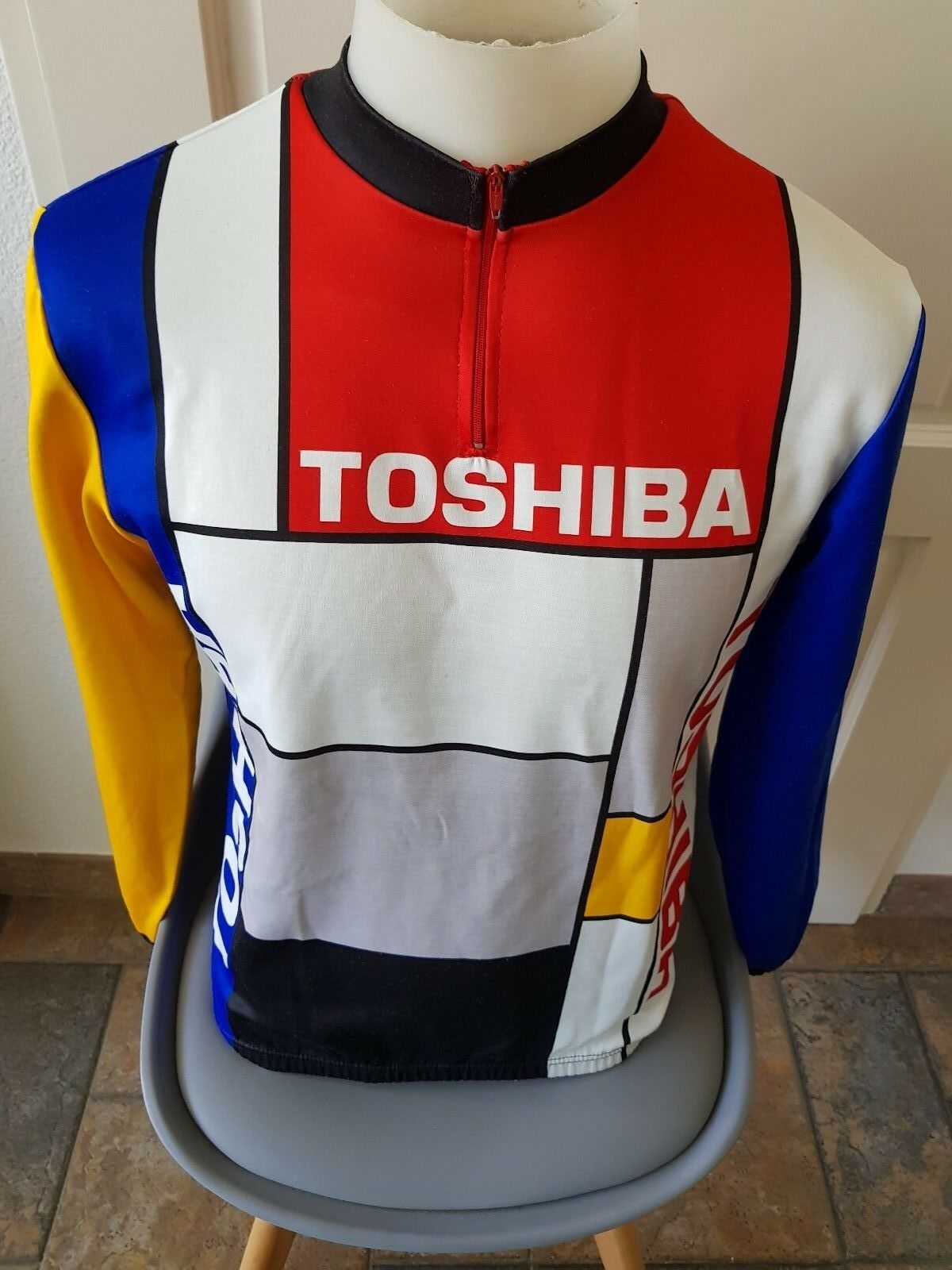 Look La Vie Claire TOSHIBA Cycling Team Jersey Long sleeve Dimensione 6 RARE