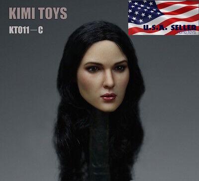 "1//6 Female Head Sculpt C Long Black Hair For 12/"" PHICEN Hot Toys Figure ❶USA❶"