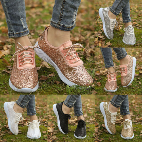 Womens Flat Glitter Sparkly Slip On Shoes Casual Breathable Trainers Shoes Size