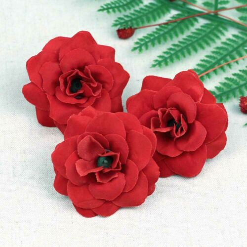 10-100pcs Bulk 5cm Artificial Velvet Rose Red Silk Fake Roses Flower Faux Heads