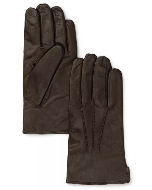 Bloomingdale's Cashmere Lined Leather Gloves - Brown Size L Retail's $98 NWT's