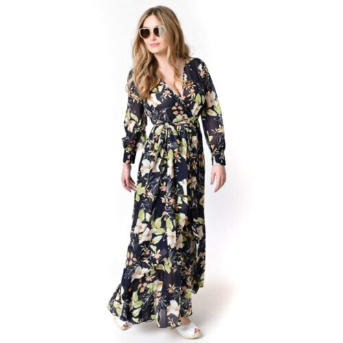 Maxikleid Damen Blumen Abendgesellschaft Langes Kleid Taschen Boho Beiläufig