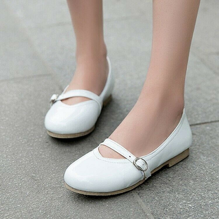 Leather Slip On Comfort Leisure Women Pump shoes Mary Jane Buckle Strap Patent