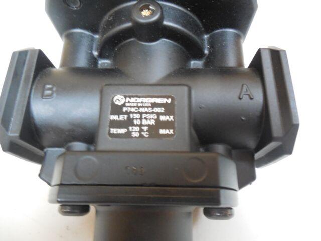"NORGREN P74C-NAS-002 POPPET VALVE 3-WAY 2 POS 24VDC 1//2/"" NPT 150 PSIG P74CNAS002"
