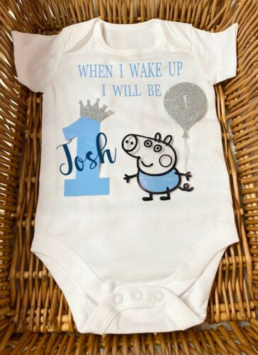 When I Wake Up I Will Be Bodysuit Birthday Ages 1,2,3 Piggy Boy