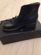 Mens Hand Made Bespoke Black Calf Army Officer Lace Up Ankle Combat Boots Size 8