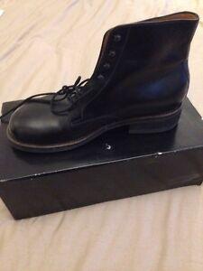 da Stivali 8 nera Taglia fatti a con caviglia combattimento mano con cinturino lacci e alla polsini in pelle personalizzati SgrgwCdq