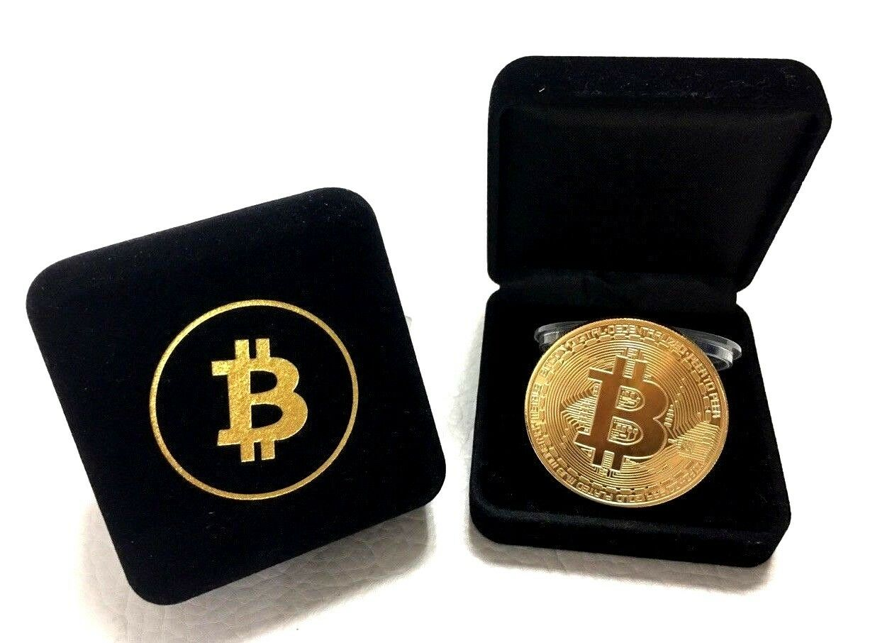 1X BITCOIN RARE 1 oz  999 Pure Solid Gold Plated Commemorative Coin  Collectiable