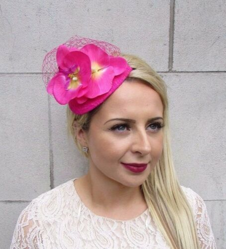 Hot Pink Orchid Fleur Fascinator Net Cheveux Serre-tête Mariage Courses Teardrop 3718