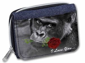 'I Love You' Gorilla with a Red Rose Girls/Ladies Denim Purse Wallet C, AM-19RJW