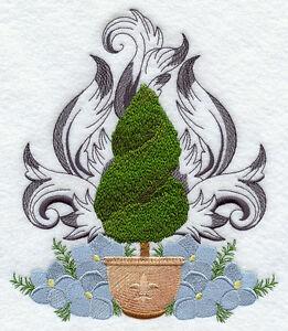 Fleur de lis topiary set of 2 bath hand towels embroidered by laura ebay - Fleur de lis bath towels ...