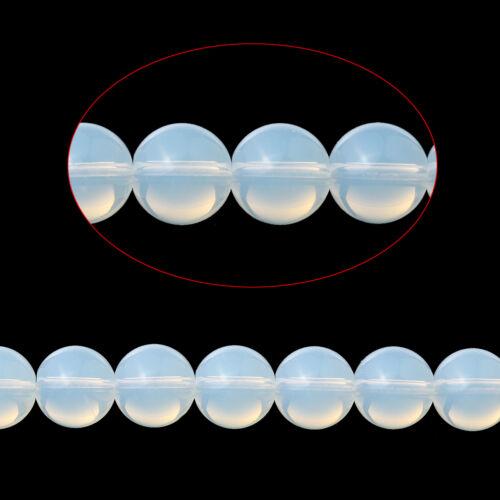 1 Enfilades Perles Intercalaire Opale Rond Blanc Accessoire 8mm