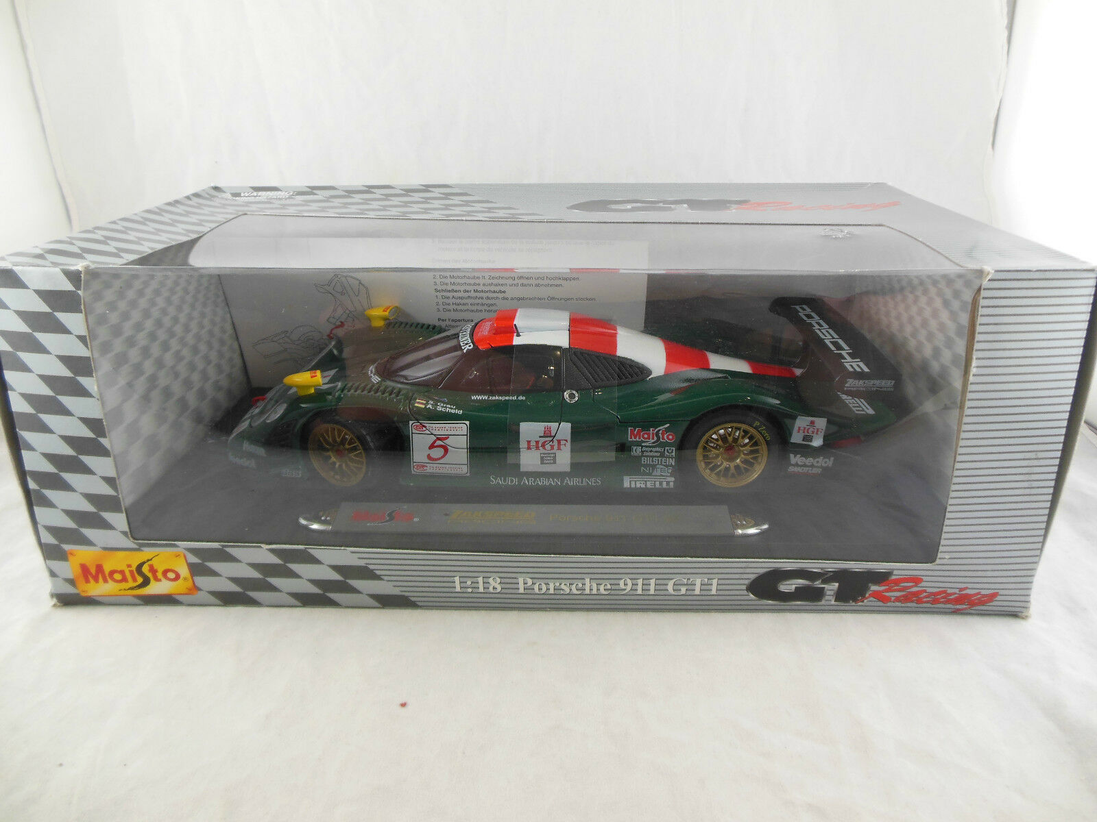 Maisto Porsche 911 GT1 98 Zakspeed Racing No.5 Scale 1 18 S grey & A Scheld