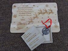 Personalised Wooden Santa Snack Platter / Plate & Magic Santa Key in Wooden Box