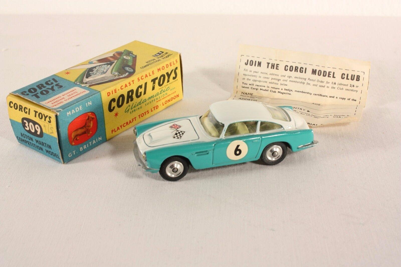 CORGI TOYS 309, Aston Martin Competition model, Rare No. 6, Comme neuf in box  ab970