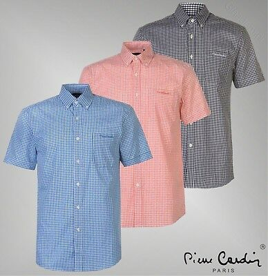 Pierre Cardin Reverse Check Short Sleeve Shirt Mens Gents Everyday Lightweight