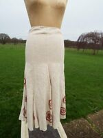 Fab Per Una Pure Linen Long Panelled Skirt With Applique Size 8 Rrp £45.00