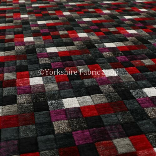 Heavyweight Grey Multi Coloured Patchwork Pattern Chenille Upholstery Fabric