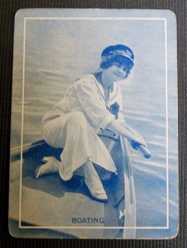 "/""Boating/"" 1918 Pretty Lady Boat in Blue-Antique VTG Wide Named Swap Playing Card"