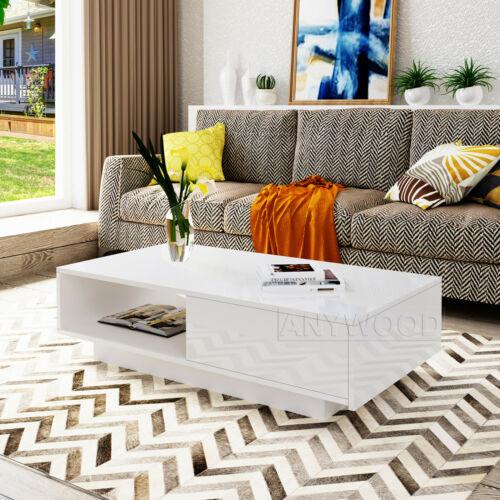 Weiß Hochglanz Kaffee Tee Tisch Aufbewahrung Schublade Wohnzimmer Moderne Möbel