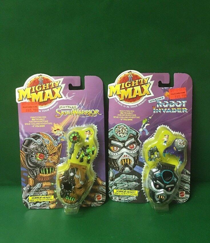 1992 Mighty Max  Skull Warrior  y  Robot Invader  NIC azulbird Juguetes Por Mattel