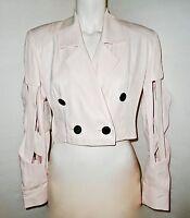 'new' Emanuel Ungaro Size 6 8, S - M, Designer Style Crop Top Blouse Jacket Pink