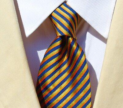 Etro Milano Gentleman's Orange, Blue, & Green Striped Silk / Cotton Tie - Italy!
