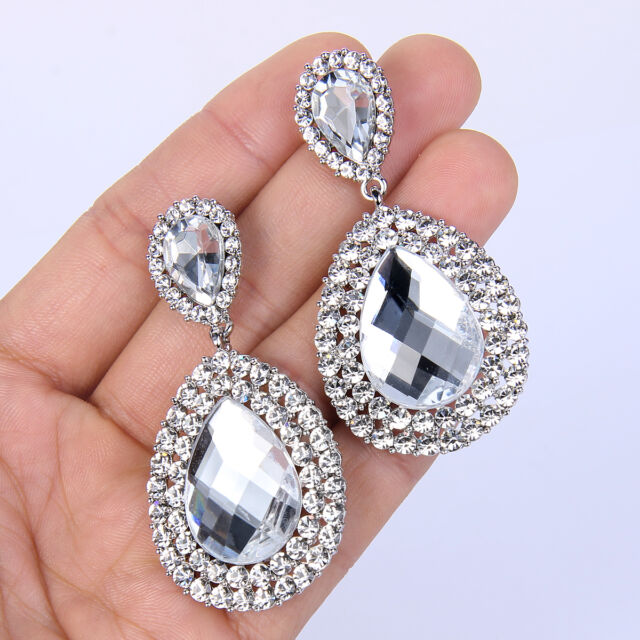 Wedding Dual Teardrop Dangle Earring Clear Austrian Crystal Silver GP Women