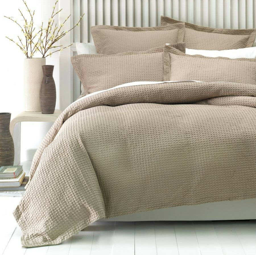 Linen House Deluxe Cotton Waffle Tan Quilt Cover Set Single Double Queen King