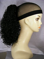 Hairpiece Clip-on 16 Medium Ponytail Brunettes Synthetic Tight Curlys