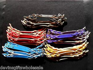 #BRT LOT OF 10 TWISTED LEATHER BRACELET BLANKS W/SNAP CHOICE OF COLOR